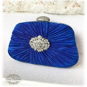 Royal Blue with Crystal Evening Clutch